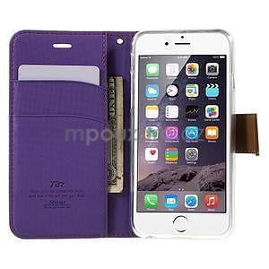 Peněženkové koženkové pouzdro na iPhone 6s a 6 - fialové - 5