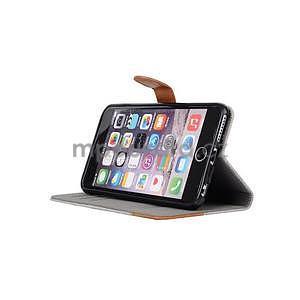 Látkové/koženkové peněženkové pouzdro na iphone 6s a 6 - šedé - 5