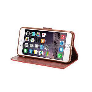 Mřížkované koženkové pouzdro na iPhone 6 a iPhone 6s - červené - 5