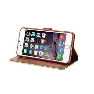 Mřížkované koženkové pouzdro na iPhone 6 a iPhone 6s - zelené - 5