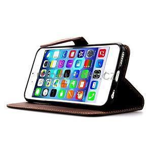 PU kožené peněženkové pouzdro pro iPhone 6s a 6 - černé - 5
