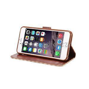 Mřížkované koženkové pouzdro na iPhone 6 a iPhone 6s - béžové - 5
