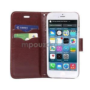 Jeans látkové/pu kožené peněženkové pouzdro na iPhone 6 a 6s - tmavě modré - 5