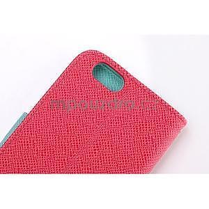 Dvoubarevné peněženkové pouzdro pro iPhone 6 a iPhone 6s - rose/cyan - 5