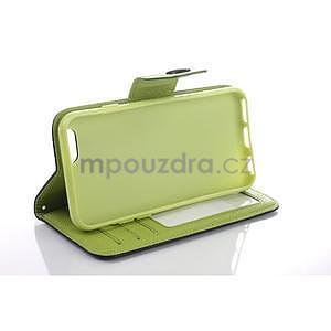 Dvoubarevné peněženkové pouzdro pro iPhone 6 a iPhone 6s - zelené/žluté - 5