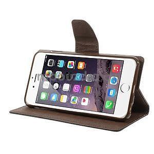 Peněženkové pouzdro pro iPhone 6 Plus a 6s Plus - černé/hnědé - 5