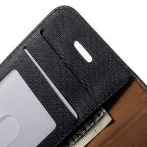 Cloth PU kožené pouzdro na iPhone SE / 5s / 5 - černé - 5