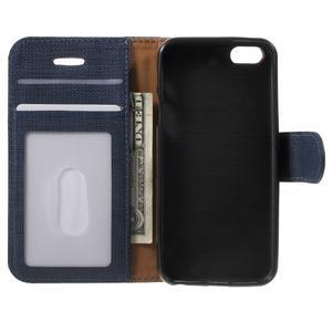 Cloth PU kožené pouzdro na iPhone SE / 5s / 5 - tmavěmodré - 5