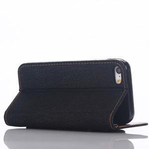 Jeans peněženkové pouzdro na mobil iPhone SE / 5s / 5 - tmavěmodré - 5