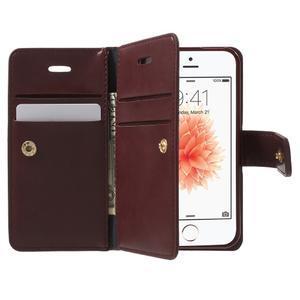Extrarich PU kožené pouzdro na iPhone SE / 5s / 5 - vínověčervené - 5