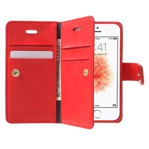 Extrarich PU kožené pouzdro na iPhone SE / 5s / 5 - červené - 5