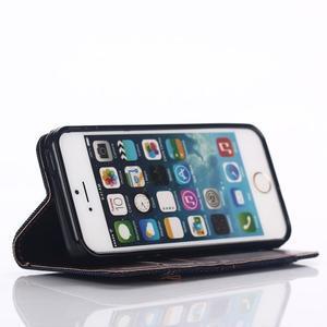 Jeans peněženkové pouzdro na mobil iPhone SE / 5s / 5 - černomodré - 5