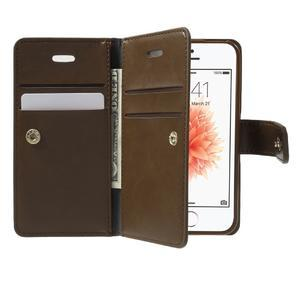 Extrarich PU kožené pouzdro na iPhone SE / 5s / 5 - tmavěhnědé - 5