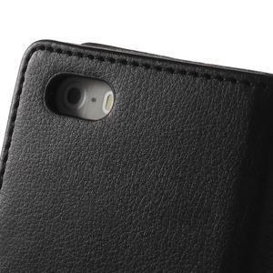 Rich diary PU kožené pouzdro na iPhone SE / 5s / 5 - černé - 5