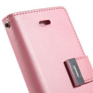 Rich diary PU kožené pouzdro na iPhone SE / 5s / 5 - růžové - 5