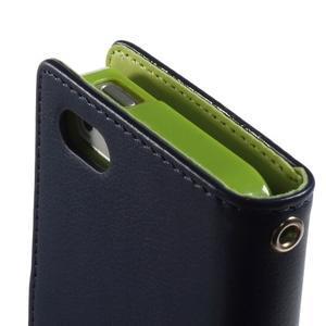 Rich diary PU kožené pouzdro na iPhone SE / 5s / 5 - tmavěmodré - 5
