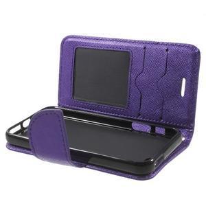 Cross PU kožené pouzdro na iPhone SE / 5s / 5 - fialové - 5