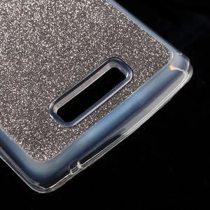 Povrchově třpytivý gelový obal na mobil Lenovo A2010 - šedý - 5