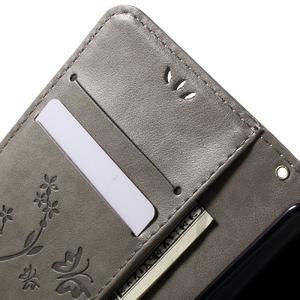 Buttefly PU kožené pouzdro na mobil LG Leon - šedé - 5