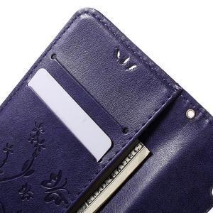 Buttefly PU kožené pouzdro na mobil LG Leon - fialové - 5