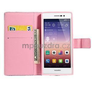 Obrazové peněženkové pouzdro na Huawei Ascend P7 - kytice - 5