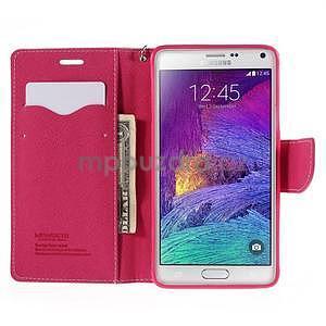Stylové peněženkové pouzdro na Samsnug Galaxy Note 4 - růžové - 5