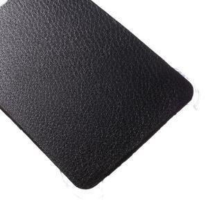 Plastový obal s koženkovým plátem na Samsung Galaxy A3 (2016) - černý - 5