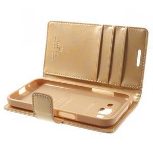 Moonleather PU kožené pouzdro na Samsung Galaxy Core Prime - zlaté - 5