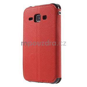 PU kožené pouzdro s okýnkem Samsung Galaxy J1 - červené/černé - 5