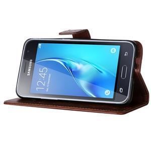 Magicfly PU kožené pouzdro na mobil Samsung Galaxy J1 (2016) - hnědé - 5
