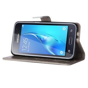 Magicfly PU kožené pouzdro na mobil Samsung Galaxy J1 (2016) - šedé - 5