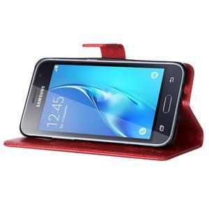 Magicfly PU kožené pouzdro na mobil Samsung Galaxy J1 (2016) - červené - 5