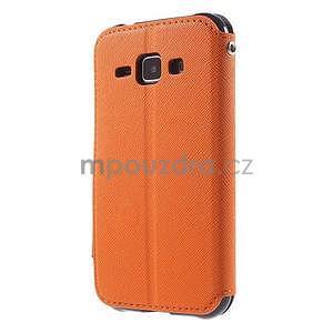 PU kožené pouzdro s okýnkem Samsung Galaxy J1 - oranžové/tmavě modré - 5