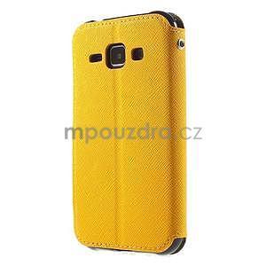 PU kožené pouzdro s okýnkem Samsung Galaxy J1 - žluté/černé - 5