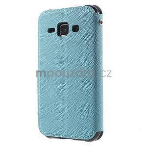PU kožené pouzdro s okýnkem Samsung Galaxy J1 - světle modré/tmavě modré - 5