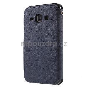 PU kožené pouzdro s okýnkem Samsung Galaxy J1 - tmavě modré/černé - 5