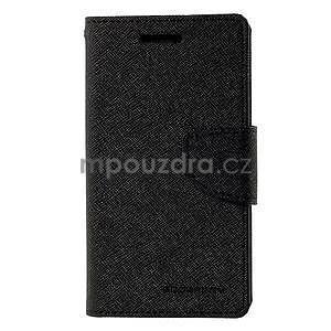 Černé PU kožené pouzdro na Samsung Galaxy J1 - 5