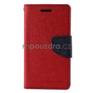Červené/tmavě modré PU kožené pouzdro na Samsung Galaxy J1 - 5