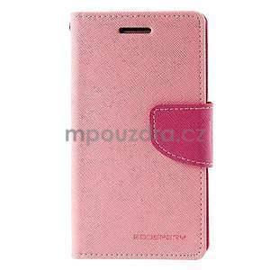 Růžové/rose PU kožené pouzdro na Samsung Galaxy J1 - 5