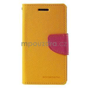 Žluté/rose PU kožené pouzdro na Samsung Galaxy J1 - 5