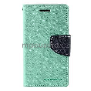 Azurové/tmavě modré PU kožené pouzdro na Samsung Galaxy J1 - 5