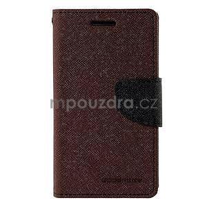 Hnědé/černé PU kožené pouzdro na Samsung Galaxy J1 - 5