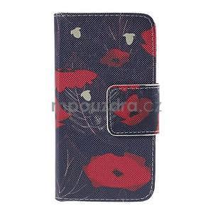 Zapínací pouzdro pro Samsung Galaxy J1 - červená květina - 5