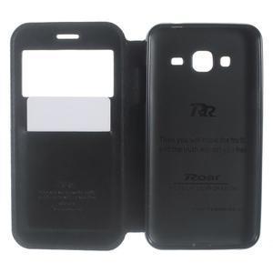 Peněženkové PU kožené pouzdro s okýnkem na Samsung Galaxy J3 (2016) - černé - 5
