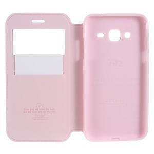 Peněženkové PU kožené pouzdro s okýnkem na Samsung Galaxy J3 (2016) - růžové - 5