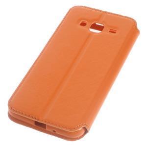 Peněženkové PU kožené pouzdro s okýnkem na Samsung Galaxy J3 (2016) - oranžové - 5
