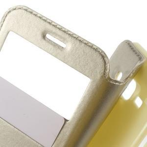 Peněženkové PU kožené pouzdro s okýnkem na Samsung Galaxy J3 (2016) - zlaté - 5