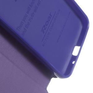 Peněženkové PU kožené pouzdro s okýnkem na Samsung Galaxy J3 (2016) - fialové - 5
