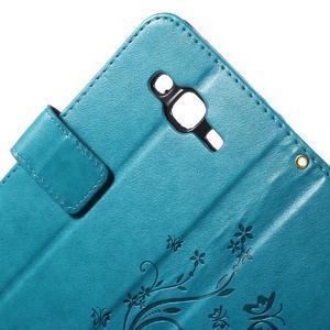 Butterfly PU kožené pouzdro na Samsung Galaxy J5 - modré - 5