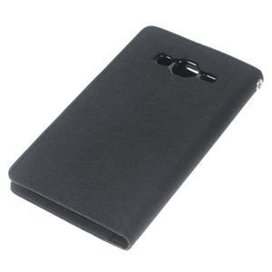 Luxury textilní/pu kožené pouzdro na Samsung Galaxy J5 - černé - 5